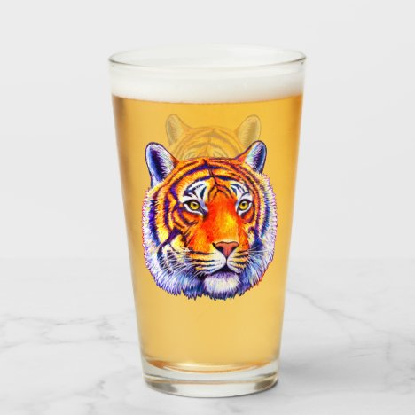 Colorful Bengal Tiger Face Glass Cup