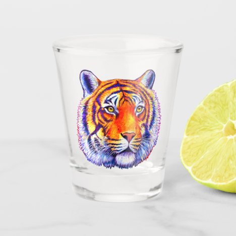 Colorful Bengal Tiger Face Shot Glass