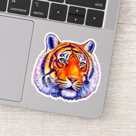 Colorful Bengal Tiger Face Vinyl Sticker