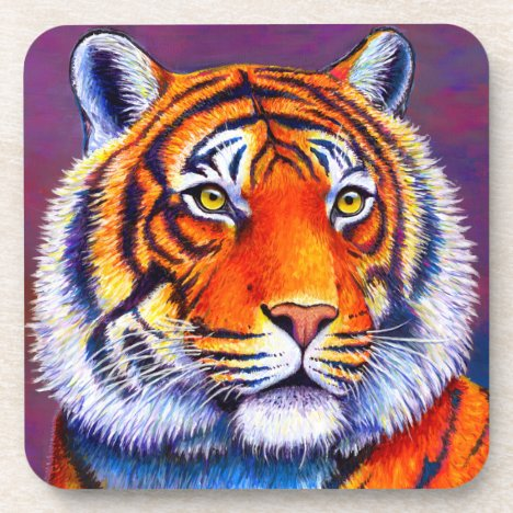 Colorful Bengal Tiger Plastic Coasters