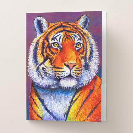 Colorful Bengal Tiger Portrait Pocket Folder