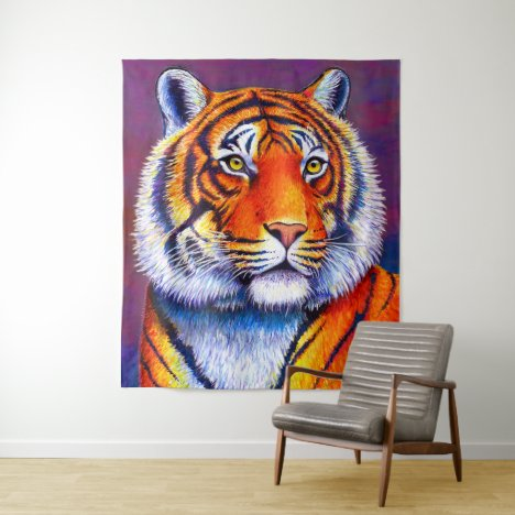 Colorful Bengal Tiger Portrait Tapestry