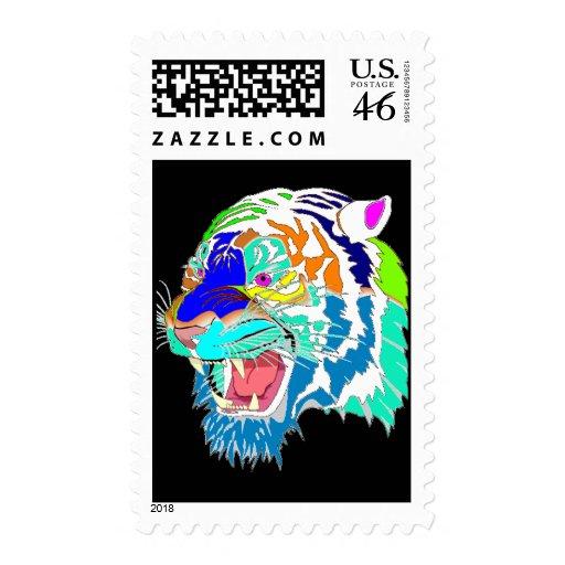 Colorful Bengal Tiger Postage Stamp