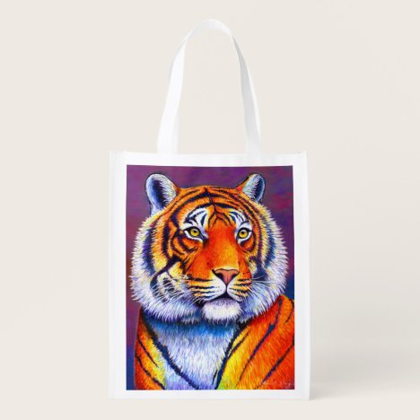 Colorful Bengal Tiger Reusable Grocery Bag