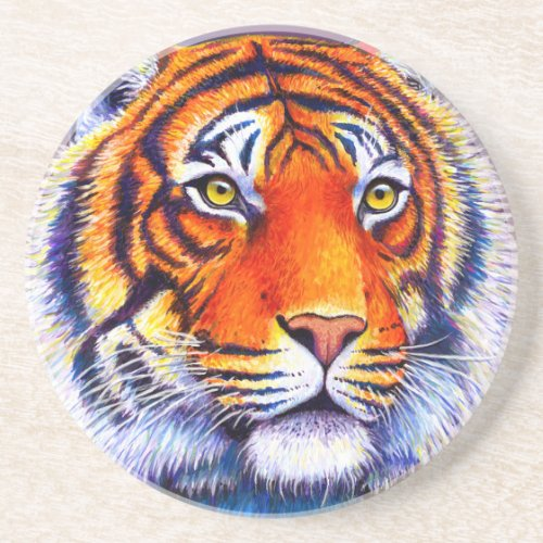 Colorful Bengal Tiger Round Stone Coaster