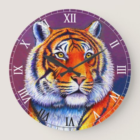 Colorful Bengal Tiger Wall Clock