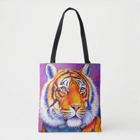 Colorful Bengal Tiger Wild Feline Tote Bag