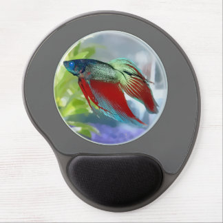 Colorful Betta Fish in a Bubble Gel Mouse Pad