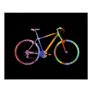 colorful bicycle on black poster