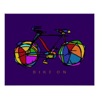colorful bicycle on purple decor print