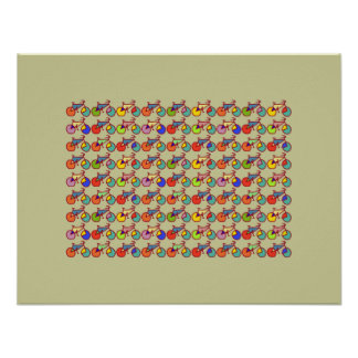 colorful bicycle patterning poster