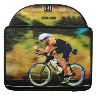 Colorful Bicycle Rider With Your Personal Name MacBook Pro Sleeves