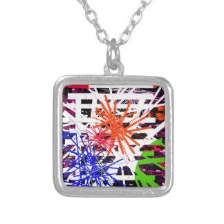 Colorful big bang square pendant necklace