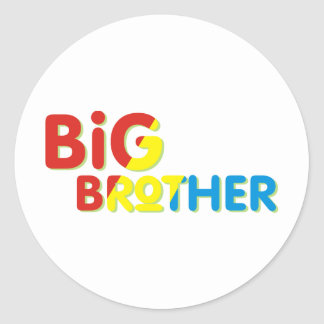 Colorful Big Brother Shirt Classic Round Sticker