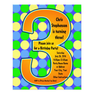 Colorful Big Number 3 Boy's Birthday Invitation Personalized Flyer