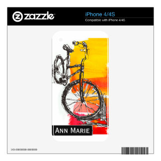 Colorful Bike Drawing Custom Name  Modern Art Decal For iPhone 4