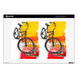Colorful Bike Drawing Custom Name  Modern Art Decal For Laptop