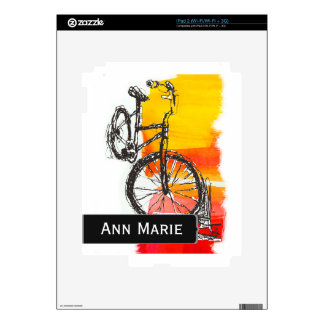 Colorful Bike Drawing Custom Name  Modern Art iPad 2 Decal