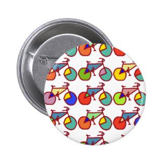 colorful bikes pattern pin