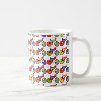 colorful bikes pattern coffee mug