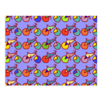 colorful bikes pattern postcard