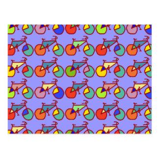 colorful bikes pattern postcard