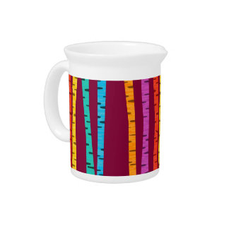 Colorful birch trees forest pitcher