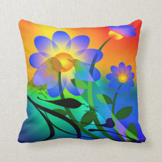 Colorful Bird and Flower cushion and