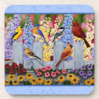 Colorful Bird Flower Garden Blue Drink Coaster