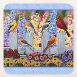 Colorful Bird Flower Garden Blue Square Paper Coaster
