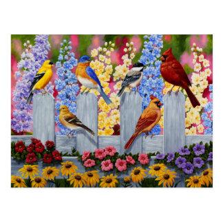 Colorful Bird Flower Garden Postcard