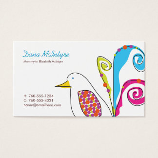 Colorful Bird Mommy Calling Cards