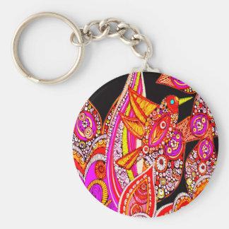 Colorful Bird Of Paradise Black Key Chain