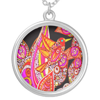 Colorful Bird Of Paradise On Black Necklace