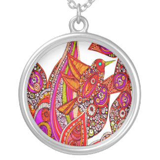 Colorful Bird Of Paradise On White Necklace