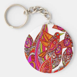 Colorful Bird Of Paradise White Key Chain