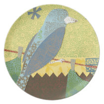 Colorful Bird on a Wire Plate