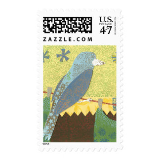 Colorful Bird on a Wire Postage Stamp