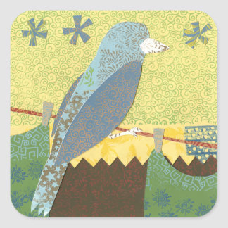 Colorful Bird on a Wire Square Stickers