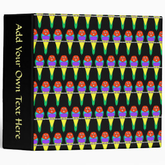 Colorful Bird Pattern. Gouldian Finch. 3 Ring Binder