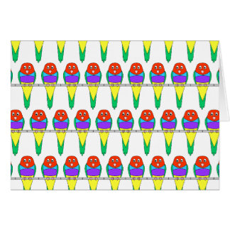 Colorful Bird Pattern. Gouldian Finch. Stationery Note Card