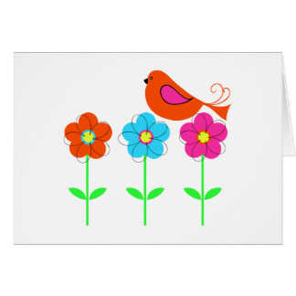 colorful bird with colorful flowers greeting card