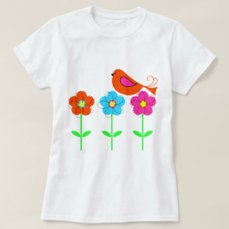 colorful bird with colorful flowers t shirt