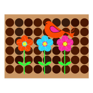 colorful bird with flowers and polka dot backgroun postcard