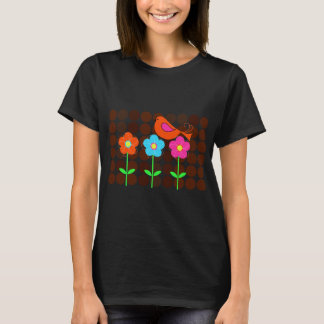 colorful bird with flowers and polka dot backgroun T-Shirt