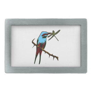 Colorful Bird with Insect Rectangular Belt Buckle