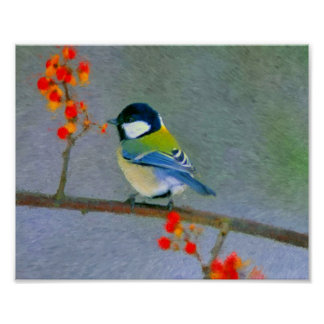 Colorful bird with red/orange flowers posters