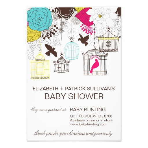 colorful birdcages baby shower gift registry card personalized invites