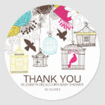 Colorful Birdcages Baby Shower Thank You Stickers