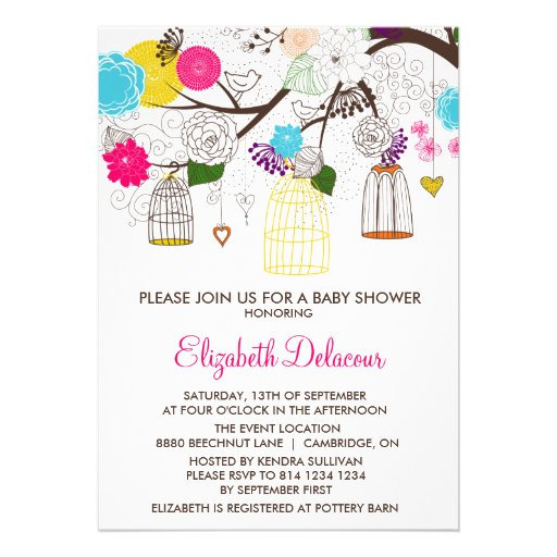 Colorful Birdcages Floral Baby Shower Invitation